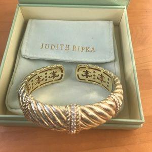 14K Gold Clad Diamonique Textured Cuff Bracelet